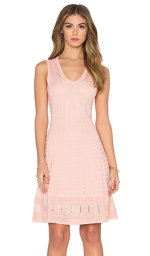 M Missoni Sleeveless V Neck Mini Dress in Blush