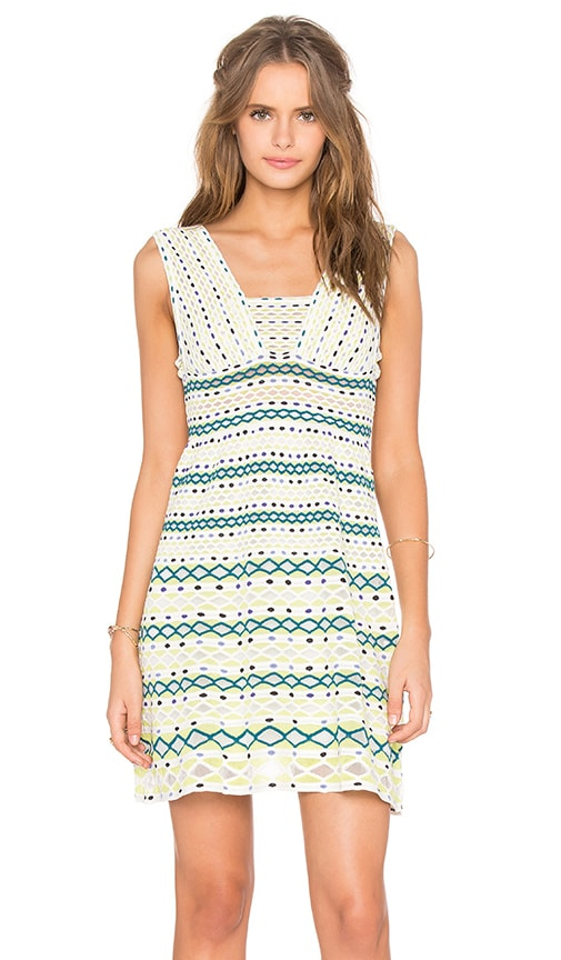 M Missoni Diamond Knit Fit and Flare Dress in White