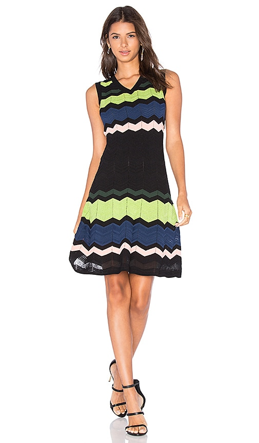 M Missoni Zig Zag Block Tank Dress in Black