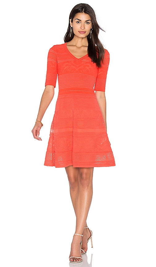 M Missoni 3/4 Sleeve Fit & Flare Dress in Coral