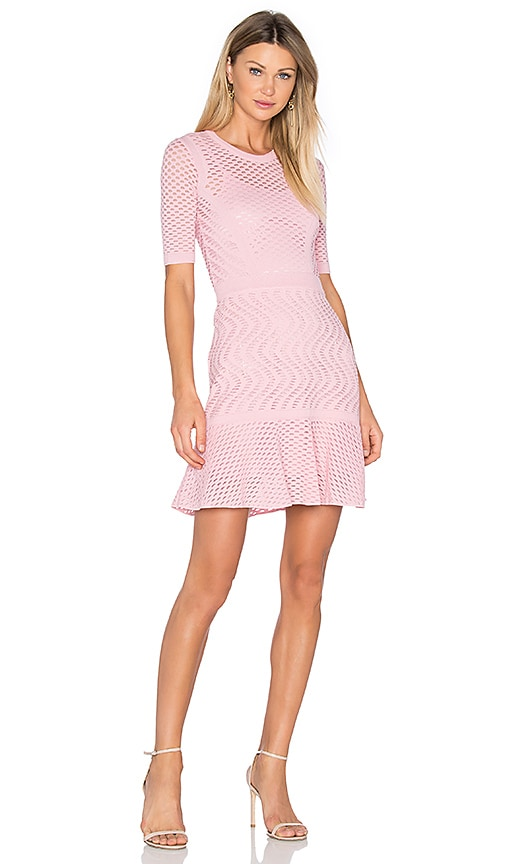 M Missoni 3/4 Sleeve Fit & Flare Dress in Pink