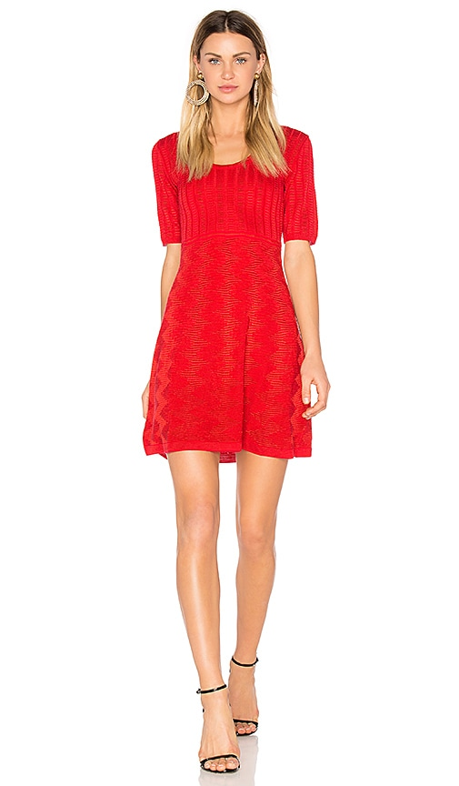 M Missoni Short Sleeve Scoop Neck Mini Dress in Red