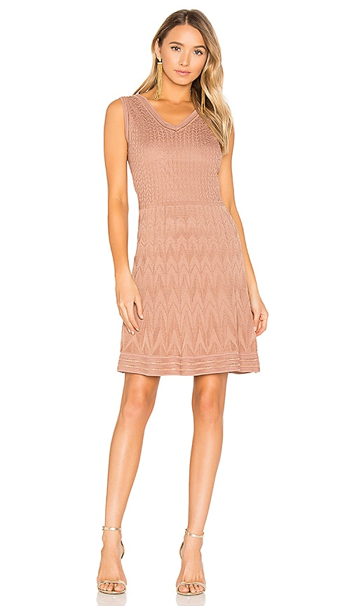 M Missoni Sleeveless Mini Dress in Tan