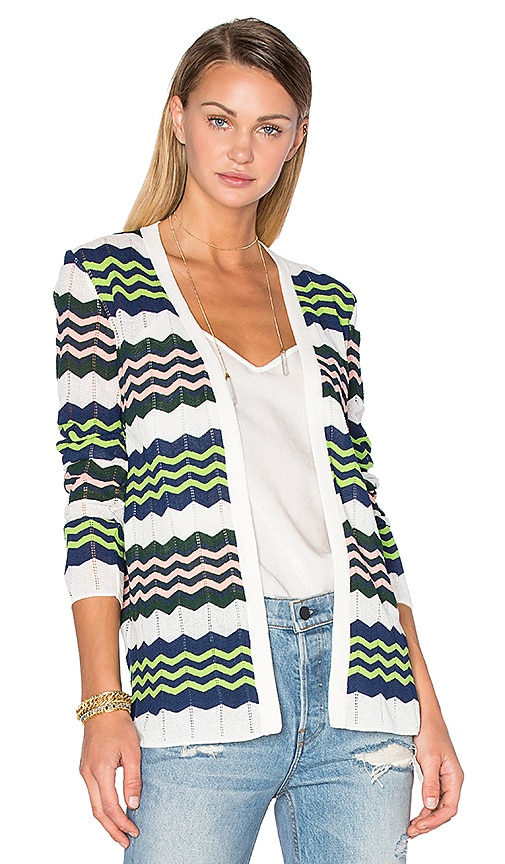 M Missoni Long Sleeve Zig Zag Cardigan in Ivory