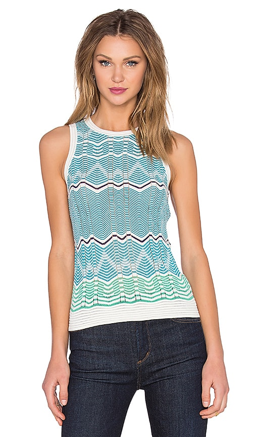 M Missoni Sleeveless Zig Zag Tank in Ivory