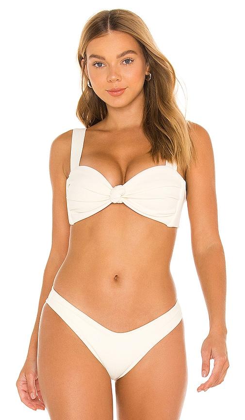 Montce Swim Hayden Bikini Top in Cream Rib   REVOLVE