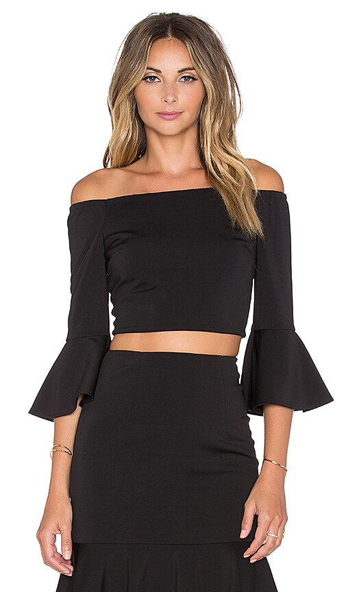 Minty Meets Munt Let It Flare Top in Black