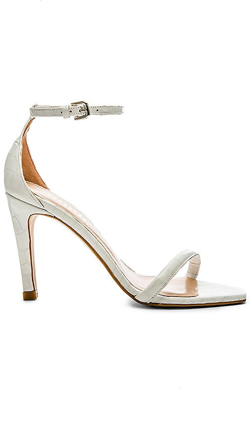 The Mode Collective Ankle Strap Square Sandal in White Patent Croc