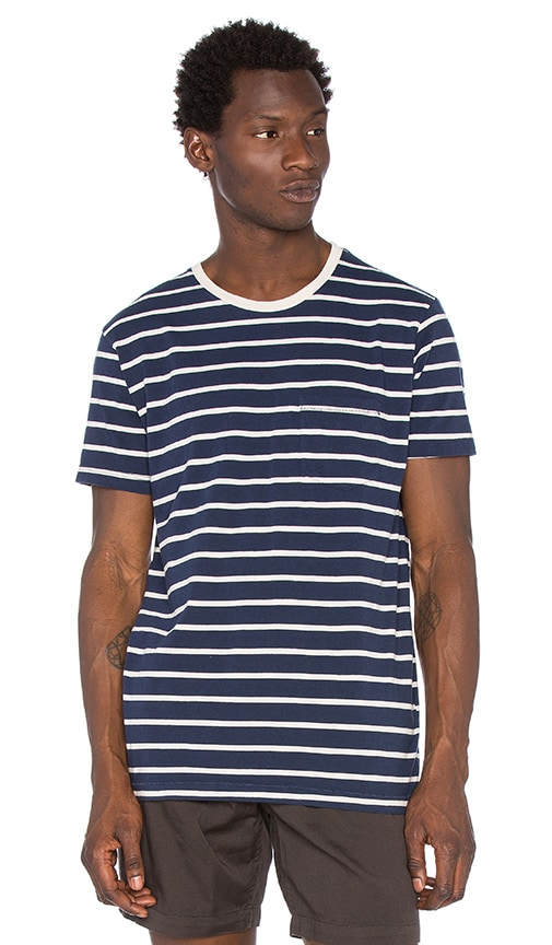 Mollusk Striped Pocket Tee in Navy