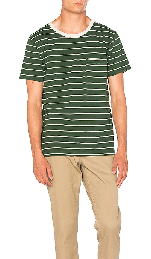 Mollusk Striped Pocket Tee in Green