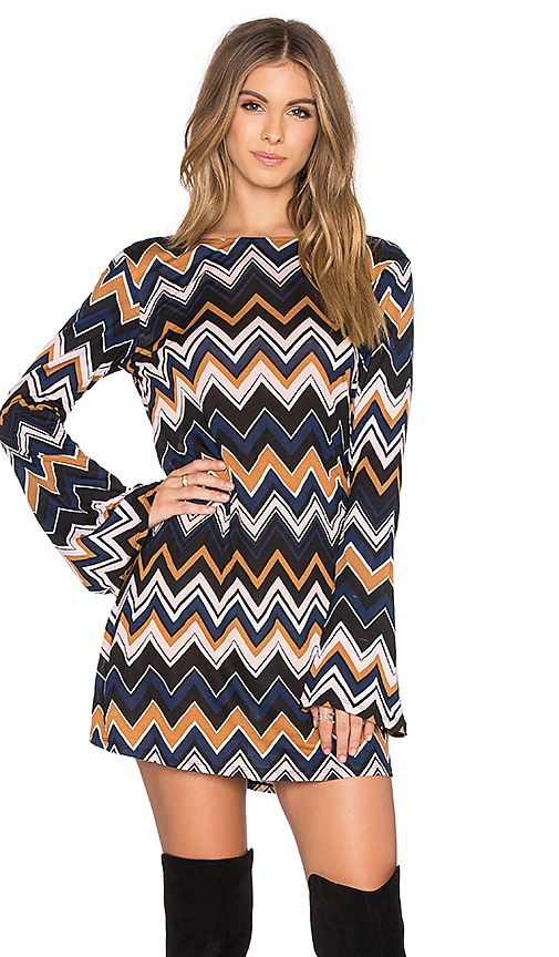 Motel Suhaila Dress in Chevron Brown