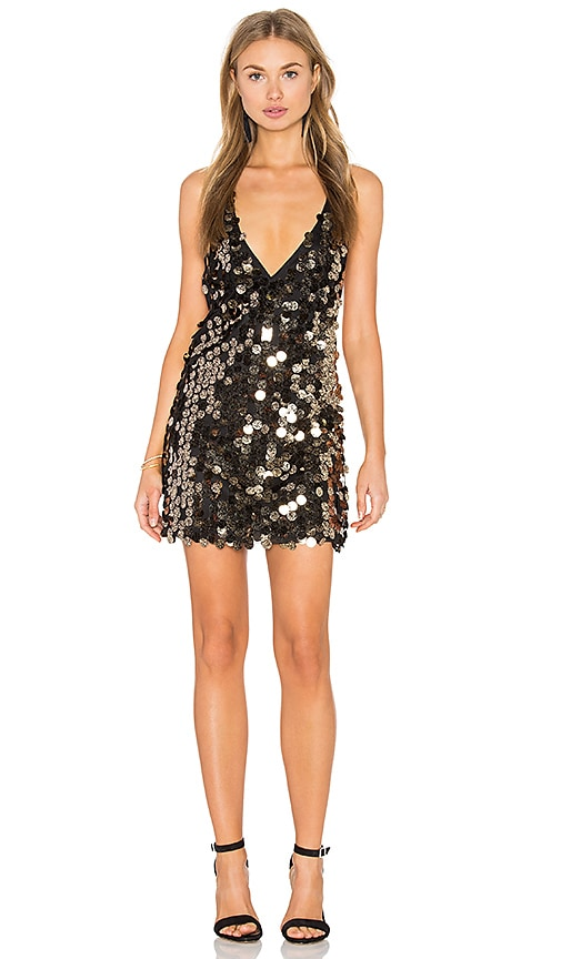 Motel Finn Dress in Black & Gold Speckle Sequin