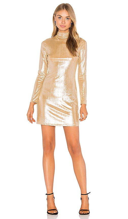 Motel Emmet Dress in Metallic Gold