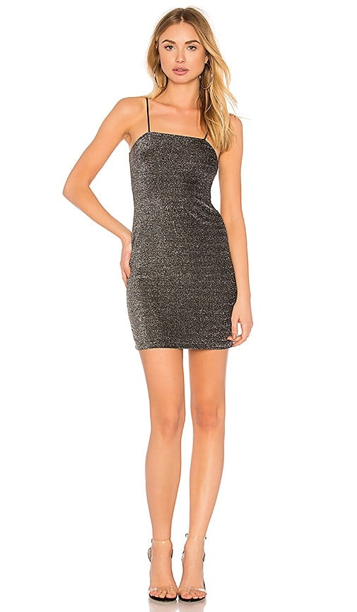 Motel Selah Tube Dress in Metallic Silver