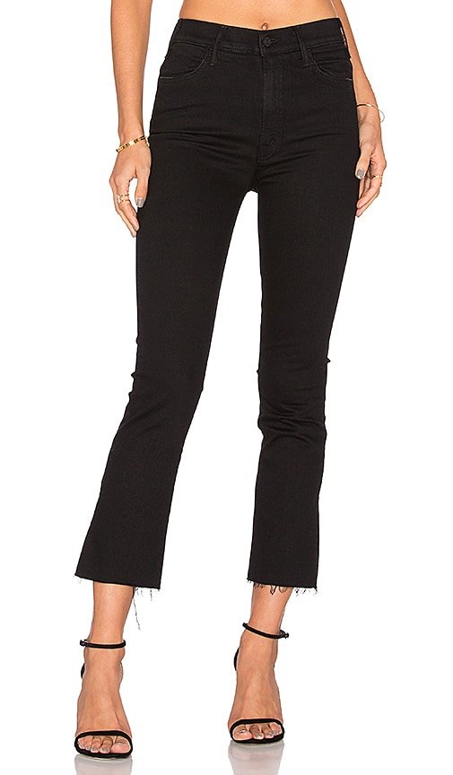 c1065323a49 Mother Insider Striped Crop Step-Hem Fray Jeans In Guilty Racer In Black