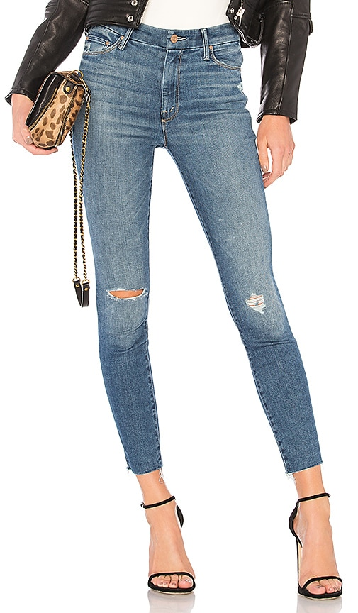 MOTHER High Waisted Looker Ankle Fray Jean in Blue
