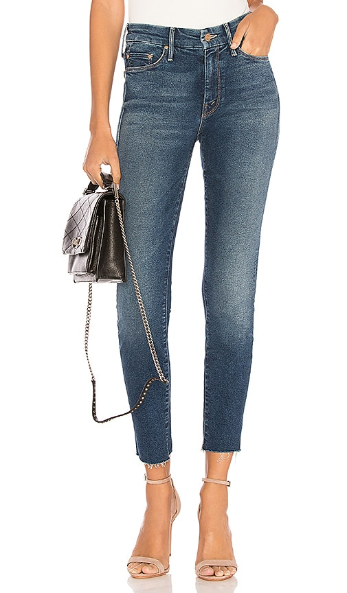 MOTHER The Looker Ankle Fray Jean in Blue