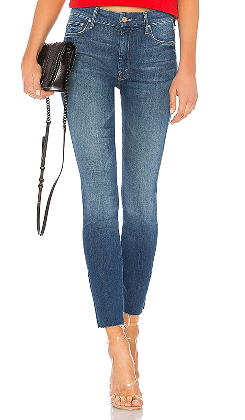 MOTHER High Waisted Looker Ankle Fray Jean in Goin For Gold