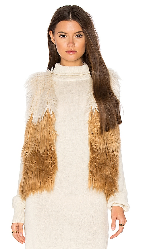MOTHER Tri Faux Fur Vest in Brown