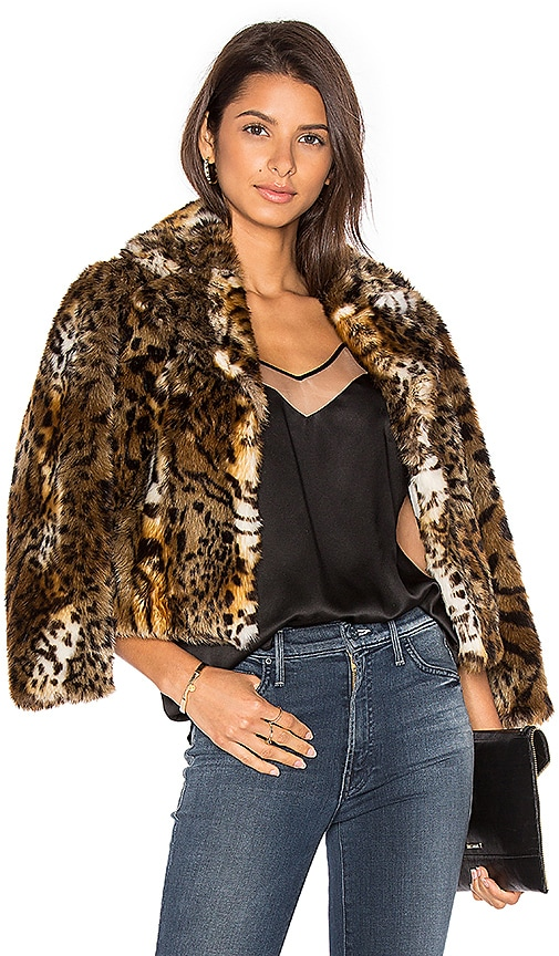 MOTHER The Boxy Crop Faux Fur Jacket in Brown