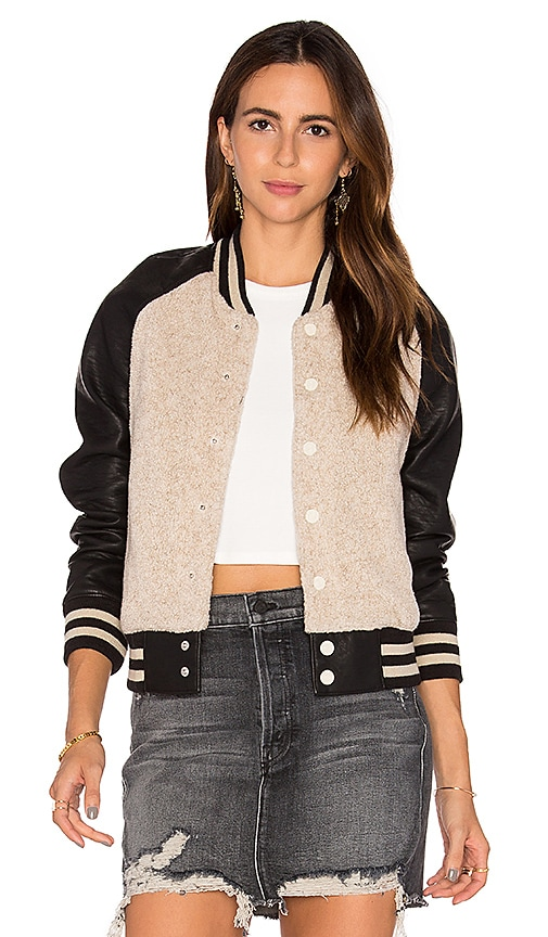 MOTHER Letterman Bomber Jacket in Black