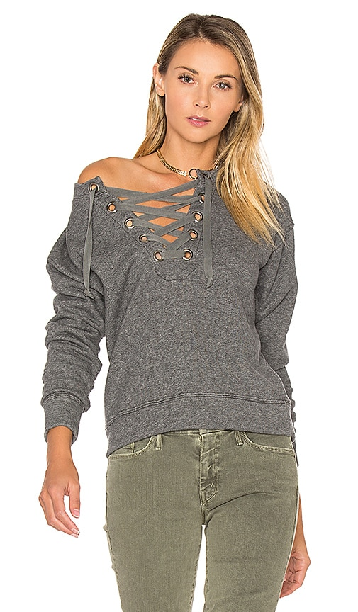 MOTHER The Tie Up Easy Sweatshirt in Grey