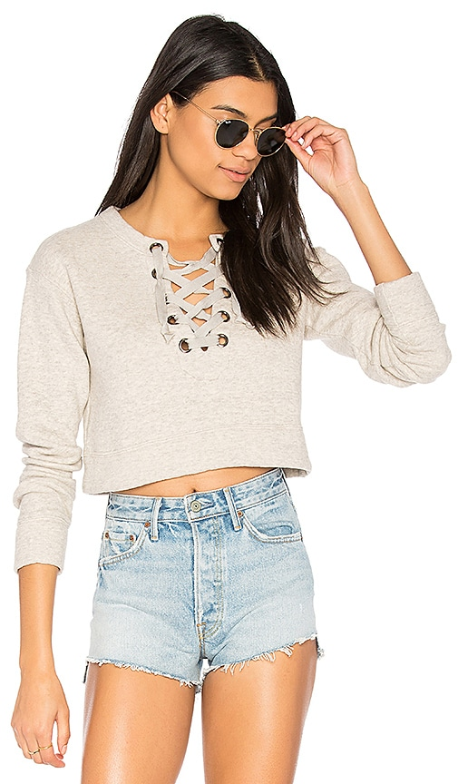 MOTHER The Tie Up Easy Crop Sweatshirt in Beige