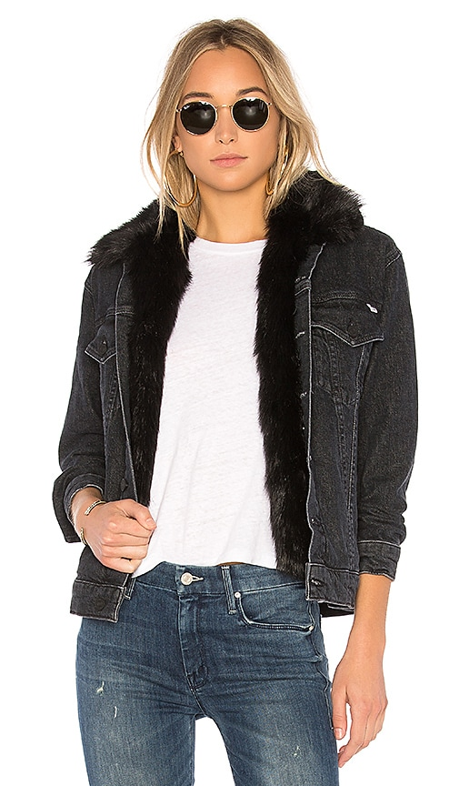 MOTHER The Furry Faux Fur Drifter Jacket in Black Cat Fever