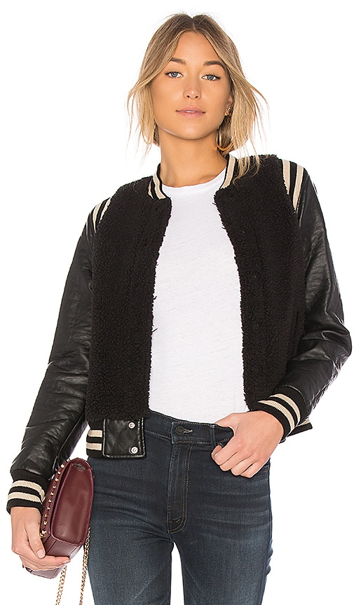 MOTHER The Snap Letterman Rub Jacket in Black