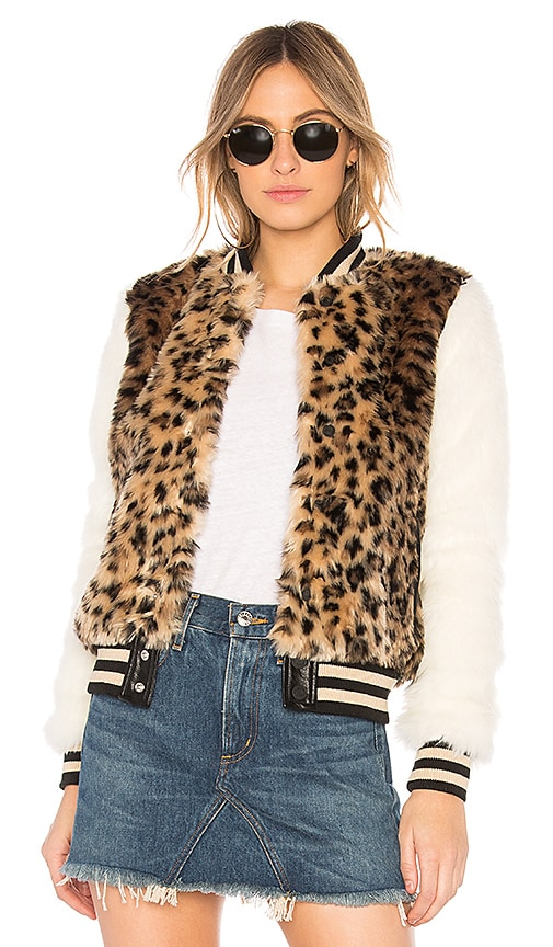 MOTHER The Faux Fur Baseball Snap Jacket in Brown