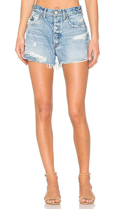 Moussy Distressed Cut Off Short in Light Blue