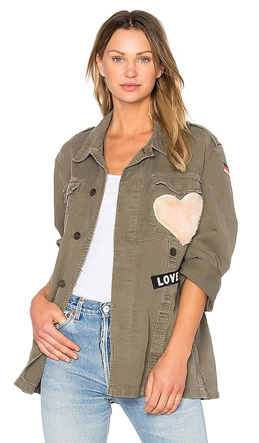 MPD BOX Moleskine Babe Jacket With Stars and Faux Fur Heart in Olive