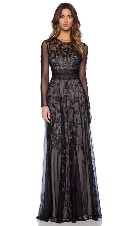 Marchesa Voyage Embroidered Long Sleeve Gown in Black & Silver ...