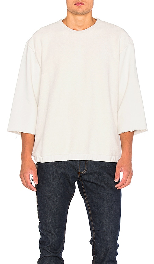 Mr. Completely 3/4 Sleeve Sweatshirt in White