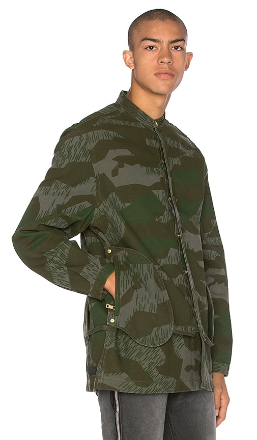 Mr. Completely Camo Banded Collar Jacket in Army