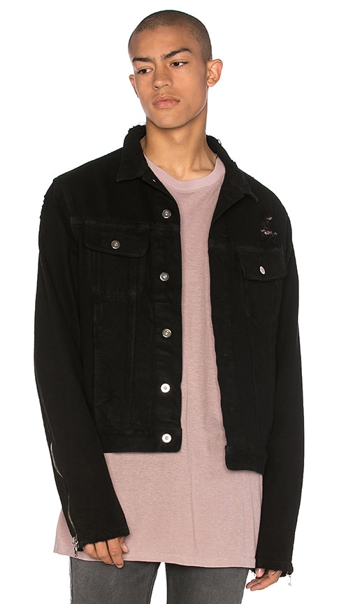 Mr. Completely Moto Sleeve Trucker Jacket in Black