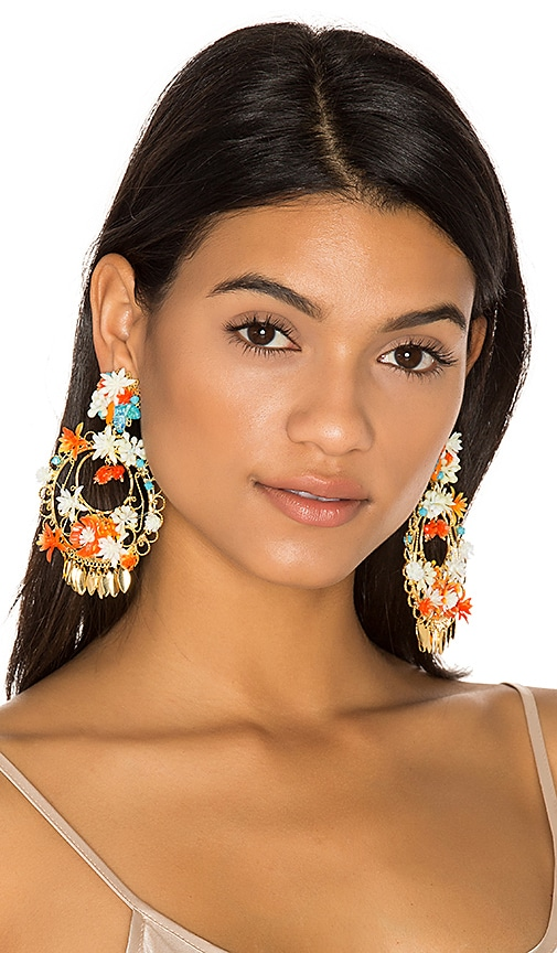 Mercedes Salazar Flor Atardecer Earrings in Ivory