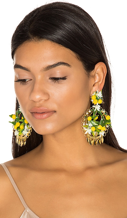Mercedes Salazar Fiesta Lemon Earrings in Green