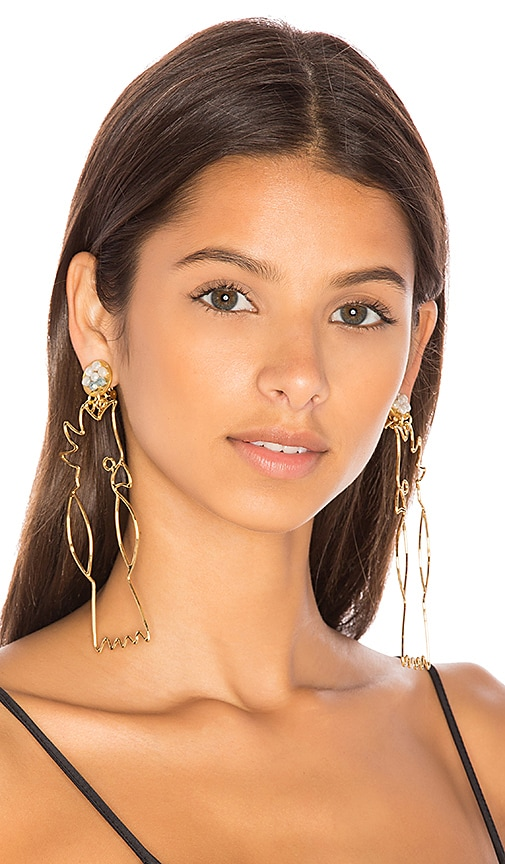 Mercedes Salazar Cacatu Earrings in Metallic Gold