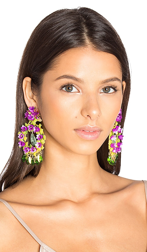 Mercedes Salazar Floral Stone Earring in Metallic Gold