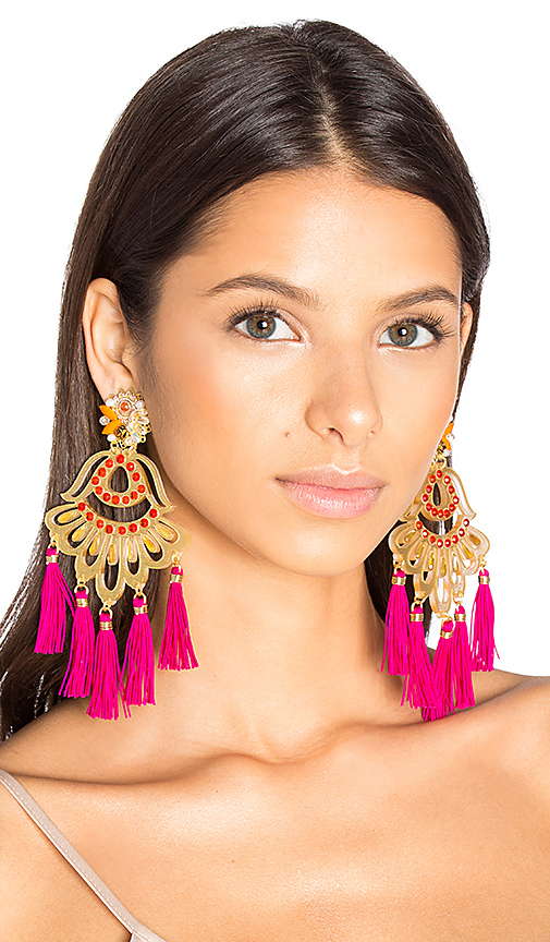Mercedes Salazar Drop Tassel Earring in Metallic Gold