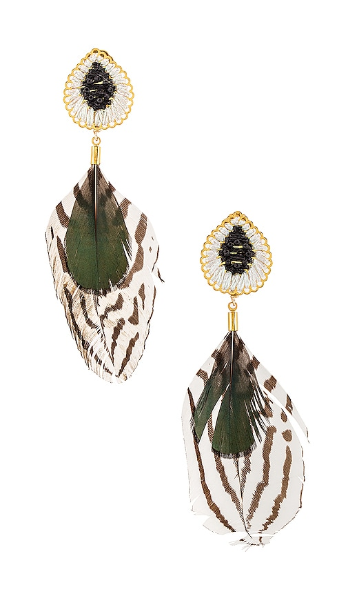 Mercedes Salazar Accessories MERCEDES SALAZAR DOUBLE FEATHER DANGLE EARRING IN WHITE.