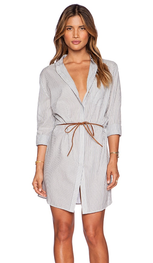Maison Scotch Belted Shirt Dress in Stripe