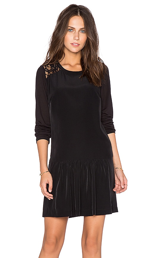 Maison Scotch Lace Long Sleeve Mini Dress in Black