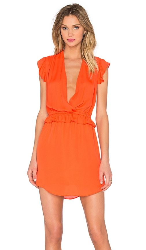 Maison Scotch Ruffle Mini Dress in Chilli