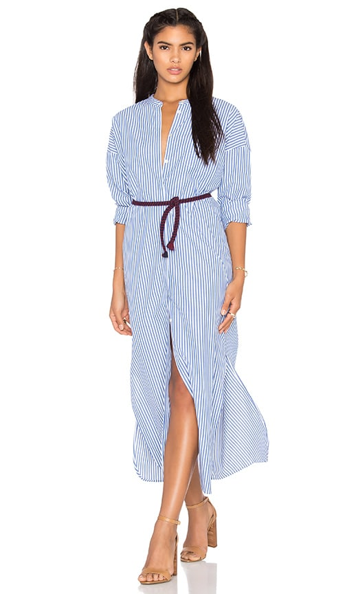 Maison Scotch Maxi Shirt Dress in Blue