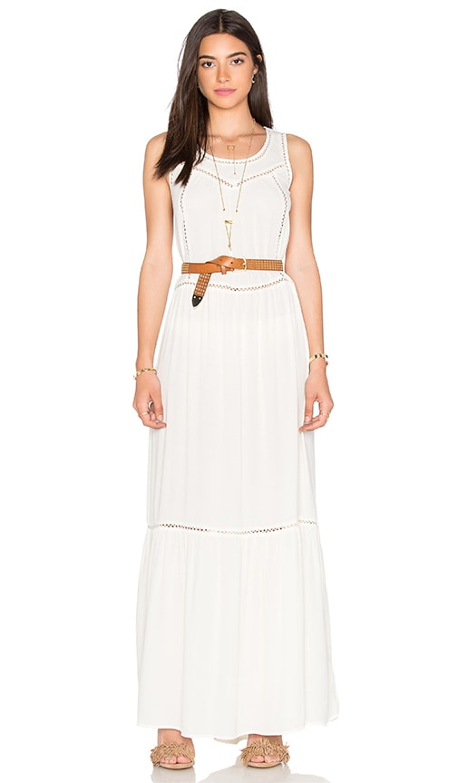 Maison Scotch Mesh Detail Maxi Dress in Ivory