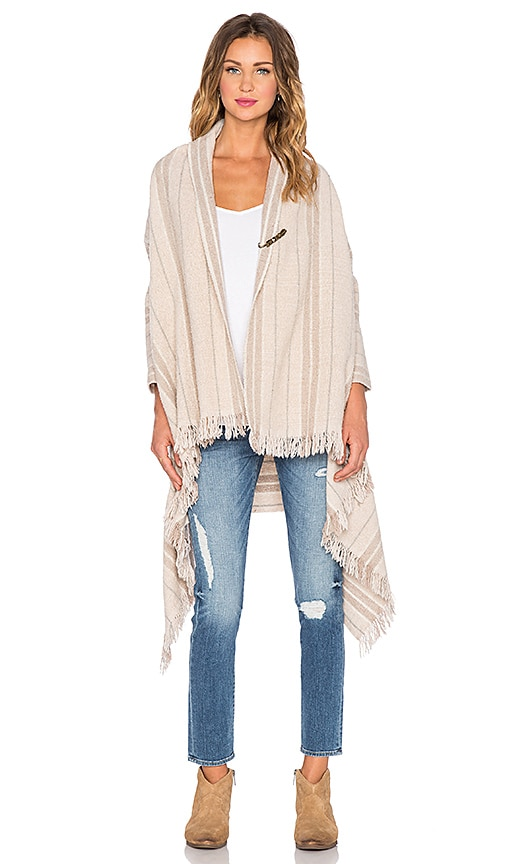 Maison Scotch Wool Poncho Cardigan in Taupe