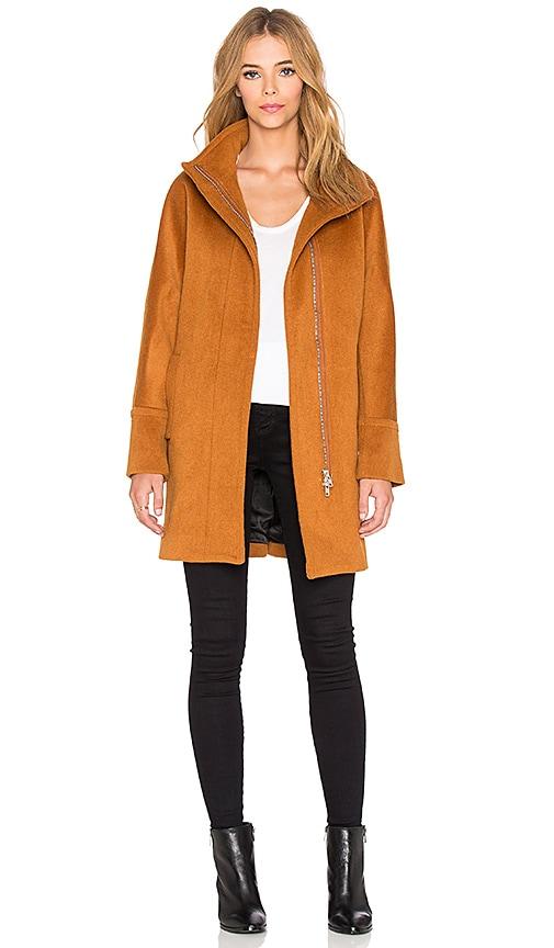 Maison Scotch Zip Up Wool Coat in Burnt Orange