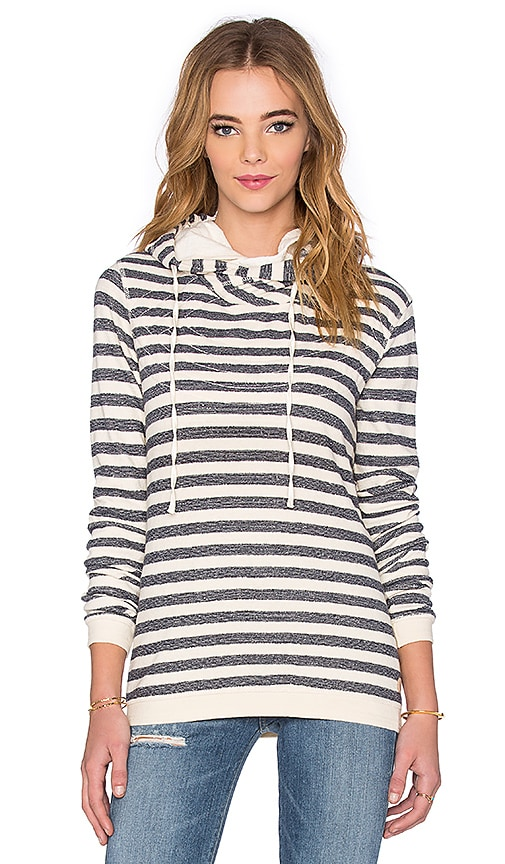 Maison Scotch Home Alone Double Hoodie in Navy & Cream